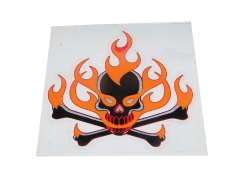 Sticker, flaming skull